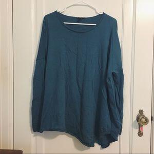 •Eileen Fisher• blue asymmetrical sweater